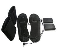 Wholesale Usb Warm Shoes - Wholesale- Eco Safe 1 Pair USB Electric Powered Heated Insoles For Shoes Boots Keep Feet Warm Size 38-46 EVA Material Warming Black Insoles