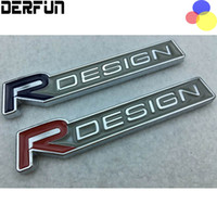 Wholesale car emblem r - Metal R DESIGN Blue Red Sticker For Volvo S40 V70 S70 C70 Car Body Wing Side Tail Rear Emblem Badge