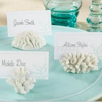 "Wholesale Wedding Cards Photos - ""Seven Seas"" Coral Place Card Photo Holder 100PCS LOT wedding party photo frame DHL Fedex Free Shipping"