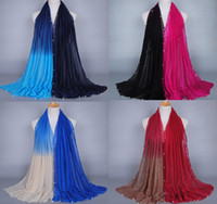 Wholesale Beaded Wraps Shawls Wholesale - Wholesale-18 color Popular Glitter design printe ombre pearl viscose shawls headband beaded hijab wrap muslim scarves scarf 10pcs lot
