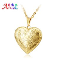 Wholesale Brass Frame Necklace - Wholesale Jewelry Heart Lockets Necklace Charm Necklace Real 18k gold plated Photo Locket Frame Pendant Necklace For women Girls lover gift