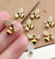 серебристый кабошон подвеска настройки оптовых-Оптовая популярные CartoonDiamond пчелы цвет DIY металлические подвески подвески подвески ювелирные изделия подарки