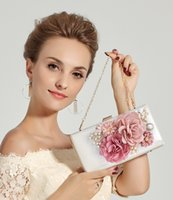 Wholesale Quality Imitation Handbags - High Quality Fashion Women Diamond Imitation Pearls Evening Bag Clutch Bag Handbag