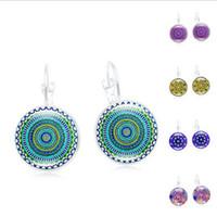 Wholesale time gem earrings resale online - Cheap Datura Flower Time Gem Earrings Mandala Glass Cabochon Silver Vintage Earrings Datura Women Jewelry