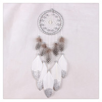 Wholesale Wall Hanging Free Shipping - BestSeller Hanging Decoration Wind Chime Hanging Handmade Traditional White Feather Dream Catcher Wall Hanging Car Ornament Free Shipping