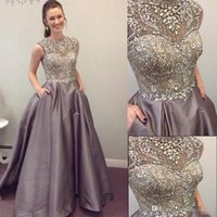 Wholesale Silk One Piece Dress - 2017 Modest Prom Dresses Sparkly Beaded Crystal Formal Long Evening Celebrity Wears with Pockets Custom Made Sweet 16 Pageant Party Gowns