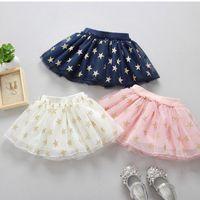 Wholesale Glitter Tutus - New Baby Girls Tutu Skirt Lace Skirts Glitter Star Net Yarn Tulle Kids Skirt Plush Ball TUTU Layer Skirts Children Mini Dress A6756