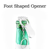 Wholesale M Shaped Ring - Creative Foot Shaped Beer Bottle Soda Opener Keychain Stainless Steel Key Rings Mini Gadget For Party