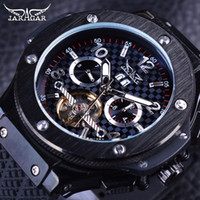 Wholesale Military Automatic Sports Watch - Jaragar Racing Tourbillion Design Sport Rubber Band Military Fashion Calendar Mens Automatic Mechanical Watches Top Brand Luxury Watch