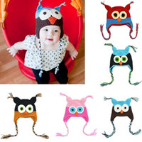Wholesale Toddler Boys Crochet Hat Patterns - 2017 New Lovely Pattern Baby Hat Winter Toddler Owls Knit Crochet Knitted Cap For child kids baby beanies Cotton Infants Hat