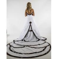 Wholesale Embroidery Aline Wedding Dress - Modest Camo Wedding Dresses Strapless Sweetheart Strapless Aline Wedding Gown with Camo Accented Court Train Layered Designer Bridal Dresses