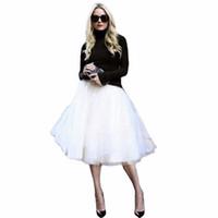 alta falda de soplo de cintura al por mayor-Nuevo Puff Mujeres Falda de tul de gasa Faldas blancas Cintura alta Midi Hasta la rodilla Gasa más el tamaño Grunge Jupe Faldas de tutú femeninas
