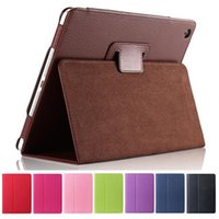 Wholesale Ipad Fabric Cases - 2 Fold Litchi Folio Magnetic PU Leather Case Cover Stand For New iPad 2017 Pro 10.5 2 3 4 5 6 Air Air2 9.7 Mini Mini4 Retina