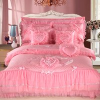 Wholesale Luxury Silk Bedspreads King Size - Wholesale-4\6\8Pcs Silk Cotton Luxury Bedding set King Queen Size Wedding Gift Pink Red Bedspread Duvet cover Decorative Pillowcase