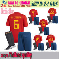 Wholesale Free Shipping World - Spain 2018 World Cup national team kid soccer jersey kits+socks 6 # a.iniesta 9 morata 15 # Ramos 22 # ISCO MOPATA free shipping