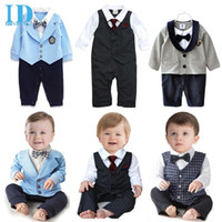 Wholesale Baby Boy Coverall Rompers - IDGIRL Baby Gentleman Rompers + Tie Boy Clothes Baby Newborn Jumpsuit Spring Autumn Long Sleeve Clothing Infant Coverall JY0199