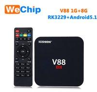 Wholesale Media Usb Hdmi - V88 Android5.1 TV Box Rockchip 3229 1G 8G 4 USB 4K 2K WiFi Full Loaded Quad Core 1.5GHZ HD Media Player