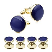 Wholesale Dress Shirts Tie Set - Brand High Quality Classical Gold Plated Navy Blue Enamel Cufflinks Studs Set for Tuxedo Dress Shirt