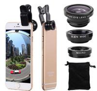 iphone objektive pakete großhandel-3 in 1 Universalmetallclip-Kamera-Handy-Objektiv-Fischauge + Makro + Weitwinkel für iPhone 7 S8 mit Kleinpaket