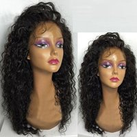 Half Handmade Sintético Lace Front Peruca Afro Kinky Curly Full Black Sintético Hair Wigs Baby Hair for Black Women Frete grátis EUA