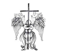 Wholesale Large Wings Tattoo - Temporary Big Tattoo 3D Cool Angel Wings Back Tattoo Sticker Waterproof Large Fake Tattoo Stickers for Men