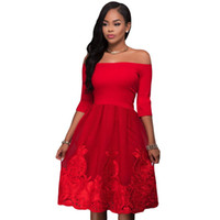 Wholesale Lace Skater Dress Sleeves - Dear Lover Spring Women Party Dress Plus Size Half Sleeve Off Shoulder Embroidery Lace Tulle Skater Midi Dress Vintage Women Clothing