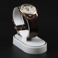Wholesale Glass Watch Display Stand - Wholesale White With Golden Line Plastic Jewelry Watch Display Stand Rack Jewellery Holder