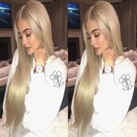 lange seidig blonde haare großhandel-Kylie Jenner Blonde Synthetische Lace Front Perücke Hochwertige Lange Seidige Gerade Lace Front Perücken Hitzebeständig Mit Bbay Haar Für Schwarze Frauen
