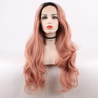Wholesale Gold Lace Wig - Black Ombre Rose Gold Hand Tied Natural Wave Glueless Heat Resistant fiber Perruque Party Synthetic Lace Front Wig For Black Women