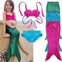 Wholesale Girls Diving Suits - Girls 3 Pcs Princess Mermaid Tails For Kids Swimwear Swimsuit Bikini Set Scuba Diving Equipment Bathing Suit Fancy Cosplay