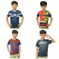 Wholesale Children S Christmas Tops - Superhero Movie T-shirts Boy Tops Tees Superman Batman Spider Man Captain America T shirt Avengers Kids Boys Clothes Children Clothing