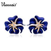 Wholesale Navy Blue Gold Earrings - Viennois Gold Plated Flower Stud Earrings for Woman Full Rhinestone Navy Blue Red Earrings Sea Starry Night Bloom Earrings