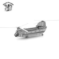 Wholesale Wholesale Plastic Model Airplanes - Wholesale- 3D Metal Puzzles Miniature Model DIY Jigsaws Sci-Fi Model Silver Gold Gift Airplane Boeing Chinook Helicopter