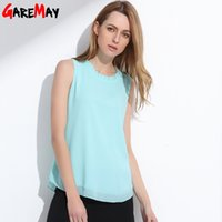 Wholesale Solid Color Vintage Summer Tops - GAREMAY Shirt Women Summer Chiffon Tops White Sleeveless Blouses For Women Clothes Ruffle Elegant Vintage Feminine Shirts T098