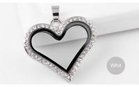 Wholesale Large Glass Lockets - Free Shipping! Large Heart Magnetic Crystals Floating Charm Locket Photo Locket