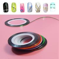 Wholesale Nail Striping Polish - 10Pc set Mixed Colors Nail Rolls Striping Tape Line DIY Nail Art Tips Decoration Sticker Nails Care for nail Polish makeup Tools