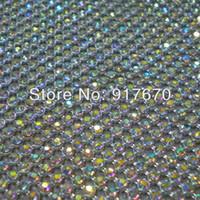 Wholesale Hot Fix 3mm Crystal - Free CPAM Hot fix 3mm ab crystal rhinestone mesh wrap roll,iron on bridal rhinestone trim net for cloth dress appliques