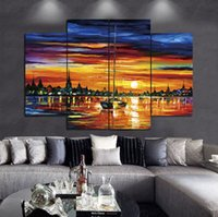 More Panel painting a sunset - A calm sunset by the sea Frameless Paintings No Frame