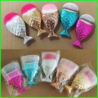 Wholesale red mermaid hair - New Mermaid Makeup Brush Powder Contour Fish Scales Mermaidsalon Foundation Brush Gold Rose Gold Silver Blue Rose red 5 Colors Free Shipping