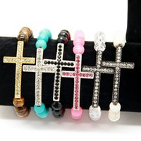 Frete Grátis Venda por atacado New Arrival Jewelry Bracelet Mix Six Colors 8mm Stone Beads With Sideways Cross Bracelets Hot Sale