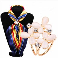 Wholesale Scarf Ring Buckle - Wholesale- New opal Flower crystal Scarf Buckle Wedding Brooch Chic Women Lady Scarf Ring Clip Buckle Jewelry Scarves Flower Buckle SK-002