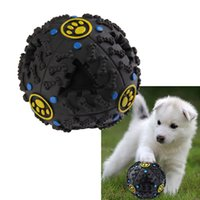 7,5cm Dispensador de comida de animal de estimação engraçado Toy Ball Dog Cat Play Squeaky Squeaker Quack Sound Training Toy Chew Ball