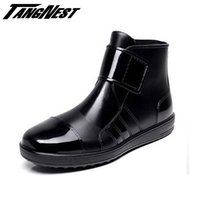 Men black rain band - Rain Boots Men Hook Loop Summer Winter Waterproof Shoes Black Blue High Quality Solid Fashion Simple Men Shoes XMX491