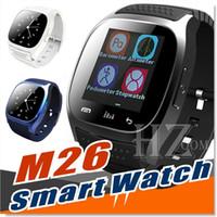 умные часы водонепроницаемые яблоко оптовых-Водонепроницаемый смарт-часы М26 Bluetooth смарт часы с из светодиодов Alitmeter музыкальный плеер шагомер для Apple, iOS андроид смарт телефон с пакетом