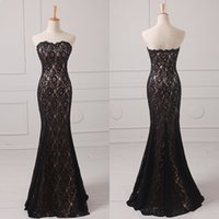 Wholesale New Strapless Dresses - 2017 New Real Photos Lace Mermaid Evening Dresses Strapless Zipper Floor-Length Custom Made Trumpet Long Prom Gowns Red Carpet Actual Images