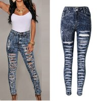 Wholesale Hole Tear Sexy - Wholesale- 2017 Hot Brand Women Cloth High Waist Jeans Hole Skinny Denim Pants Personality Tearing Trendy Fashion Lady Sexy Jeans Trousers