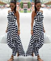 ingrosso abito geometrico bianco nero-Abito da donna 2017 New Sexy in bianco e nero stampa geometrica abito ampio abito vestito imbracatura. Spedizione gratuita