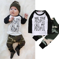 Wholesale Baby Boy Letter Shirt - Newborn Baby Clothes Boys Boutique Clothing Set Toddler Tracksuit Next Kids Children Suit Infant Outfit Shirt Tops+Camouflage Pants Playsuit
