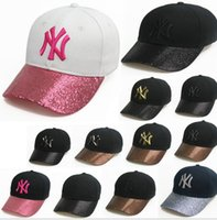 Wholesale Sequin Hats Caps - NY men women MLB baseball cap snapback Hip hop Adjustable top hat sport Dad sequins hats summer Baseball Cap KKA1966