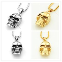 Top Cool 316L en acier inoxydable gothique Punk Skull Gold Silver Tone Pendentif Collier Mens Boys Jewelry